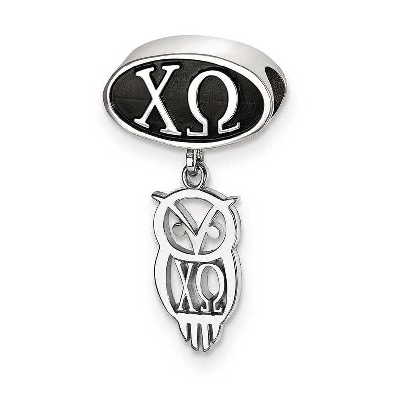 CHO004BD-SS: SS Logoart Chi Omega Oval With Owl Dangle Reflection Beads
