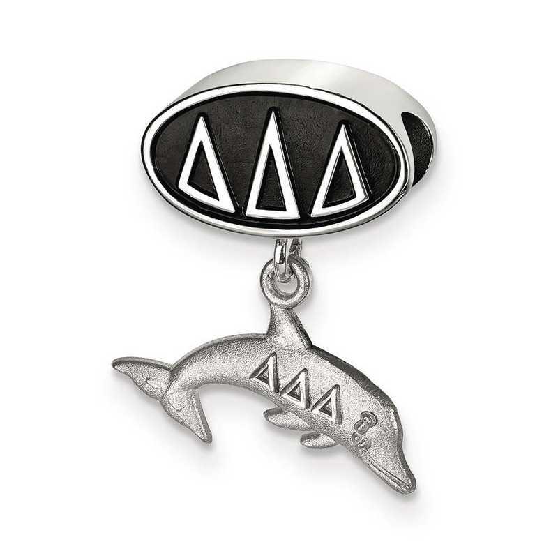 DDD004BD-SS: SS Logoart Delta Delta Delta Oval Dolphin Reflection Beads