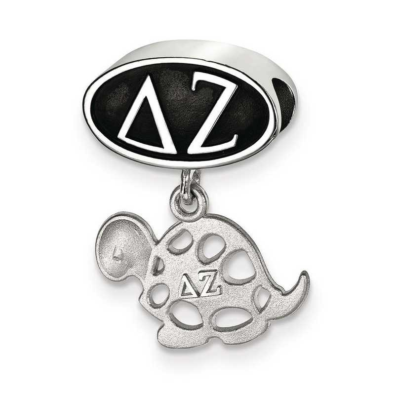 DZ004BD-SS: SS Logoart Delta Zeta Oval With Turtle Reflection Beads