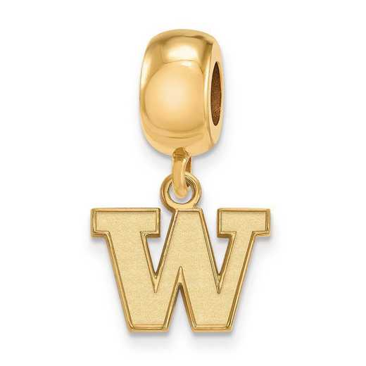 GP012UWA: SS W/GP Logoart Univ Of Washington Xs Reflection Beads Charm