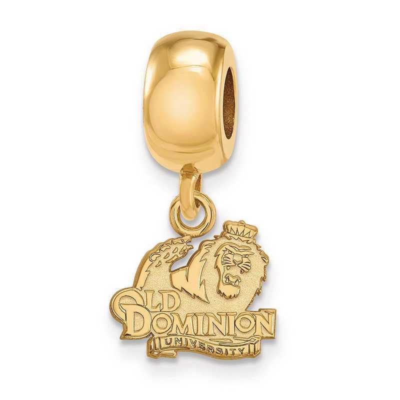 GP013ODU: SS W/GP Logoart Old Dominion Univ Xs Reflection Beads Charm