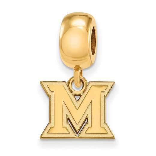 GP018MU: SS W/GP Logoart Miami Univ Xs Dangle Reflection Beads Charm