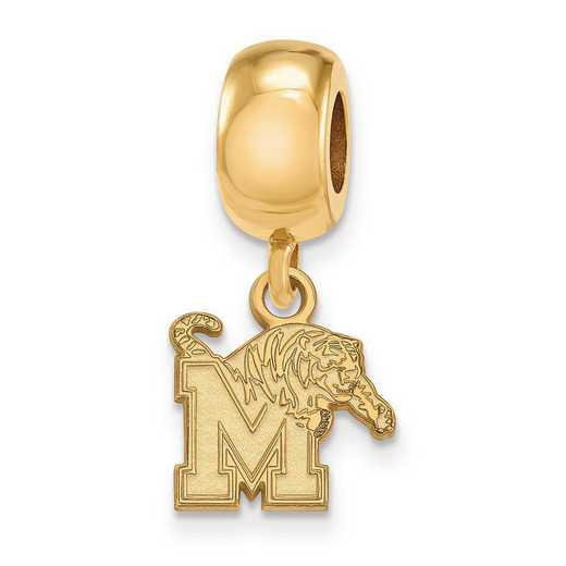 GP022UMP: SS W/GP Logoart Univ Of Memphis Xs Reflection Beads Charm