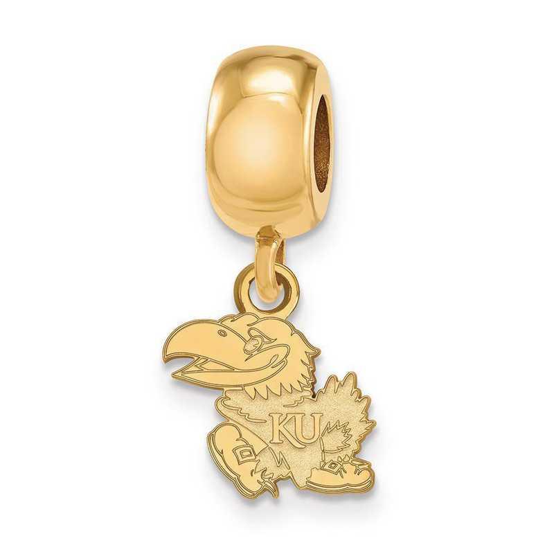 GP031UKS: SS W/GP Logoart Univ Of Kansas Xs Reflection Beads Charm