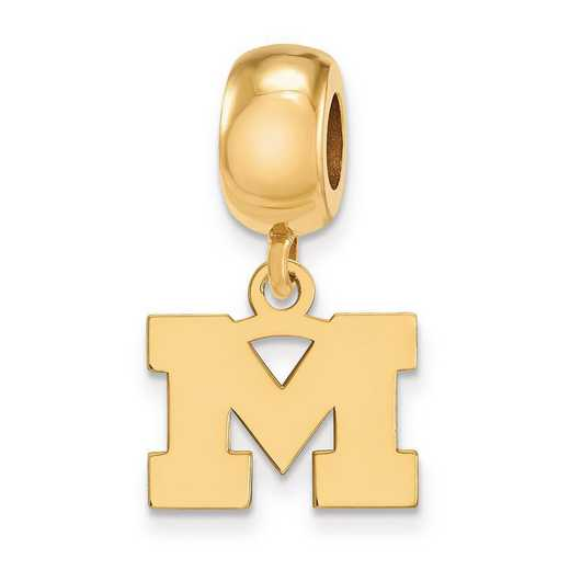 GP032UM: SS W/GP Logoart Michigan (Univ Of) Xs Reflection Beads Charm