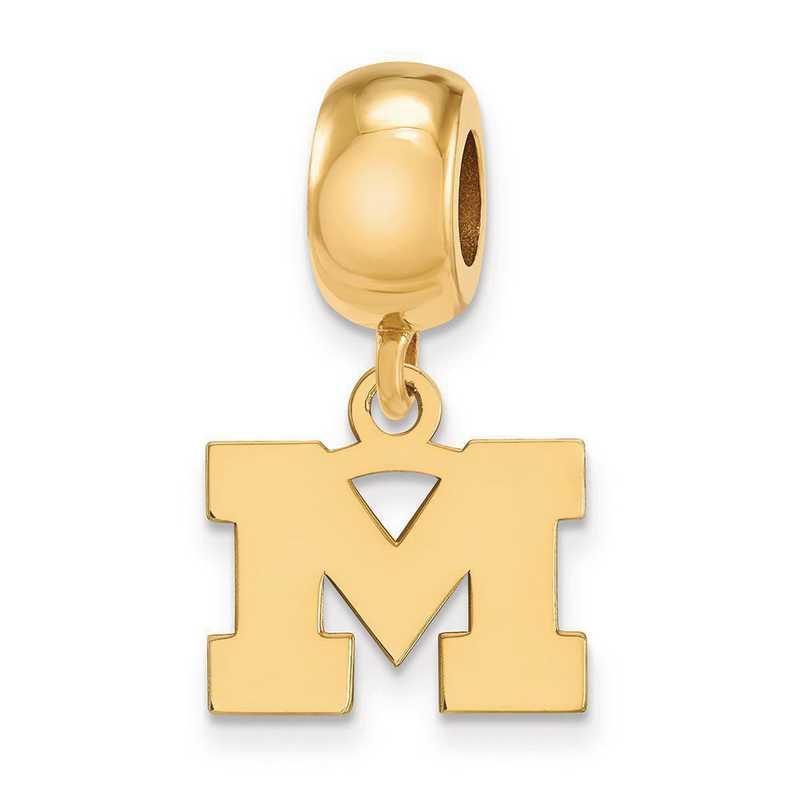 GP032UM: SS W/GP Logoart Michigan (Univ Of) Xs Reflection Beads Charm