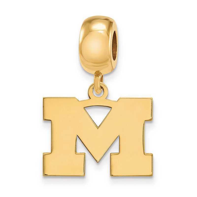 GP033UM: SS W/GP Logoart Michigan (Univ Of) Small Reflection Beads