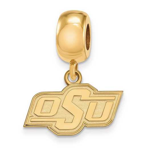 GP034OKS: SS W/GP Logoart Oklahoma State U Xs Reflection Beads Charm
