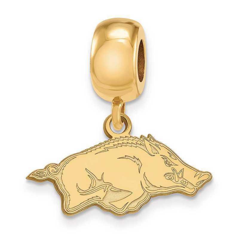 GP034UAR: SS W/GP Logoart U Of Arkansas Small Reflection Beads Charm