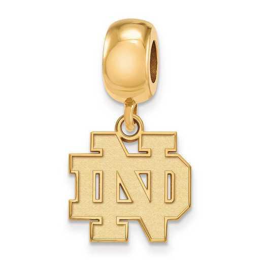 GP034UND: SS Gp Logoart U Of Notre Dame Reflection Beads Charm Small