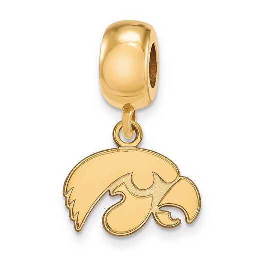 GP035UIA: SS W/GP Logoart Univ Of Iowa Xs Reflection Beads Charm
