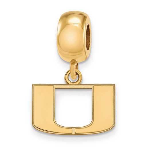 GP035UMF: SS W/GP Logoart Univ Of Miami Xs Reflection Beads Charm