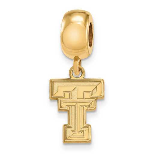 GP036TXT: SS W/GP Logoart Texas Tech Univ Small Reflection Beads