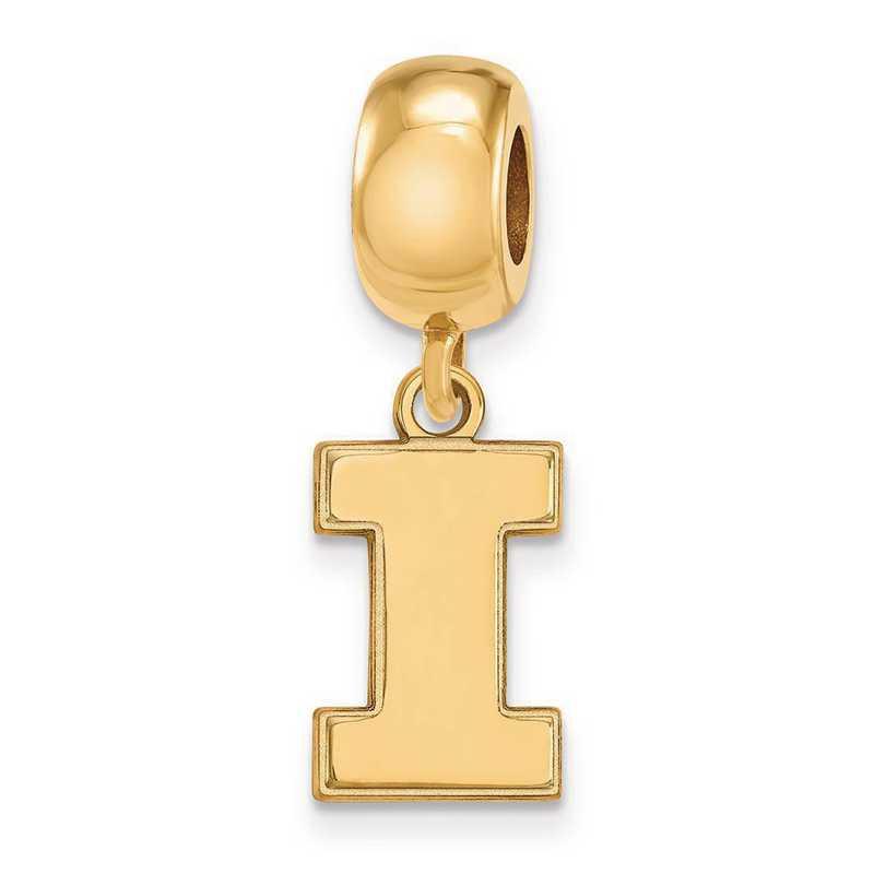 GP036UIL: SS W/GP Logoart Univ Of Illinois Small Reflection Beads