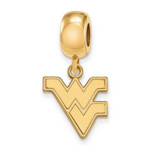 GP036WVU: SS W/GP Logoart West Virginia Univ Small Reflection Beads