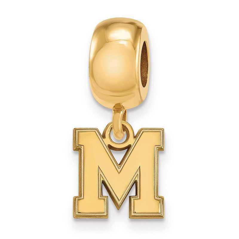 GP048UMP: SS W/GP Logoart Univ Of Memphis Xs Reflection Beads Charm