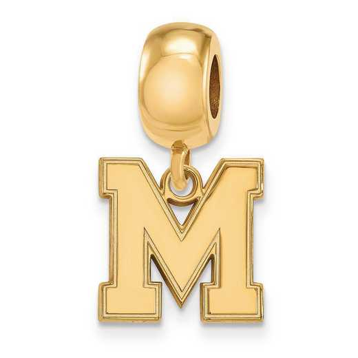 GP050UMP: SS W/GP Logoart Univ Of Memphis Small Reflection Beads Charm