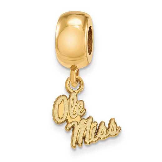GP058UMS: SS W/GP Logoart U Of Mississippi Xs Reflection Beads Charm
