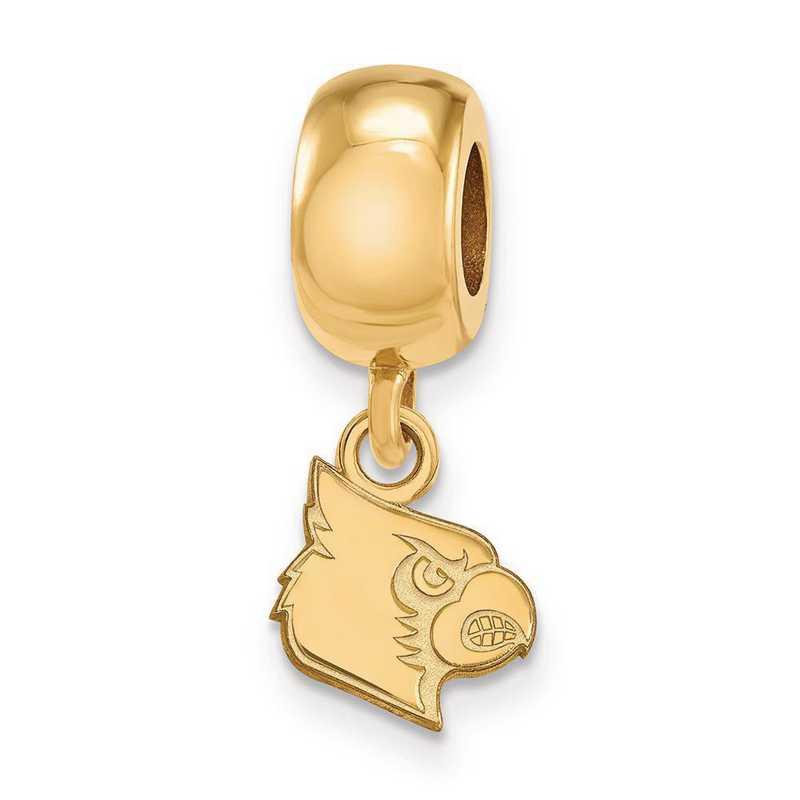 GP059UL: SS W/GP Logoart Univ Of Louisville Xs Reflection Beads Charm