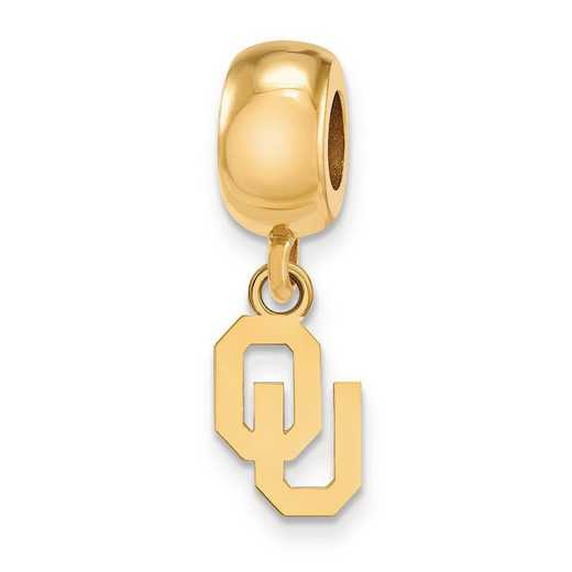 GP060UOK: SS Gp Logoart The Univ Of Oklahoma Reflection Beads Charm