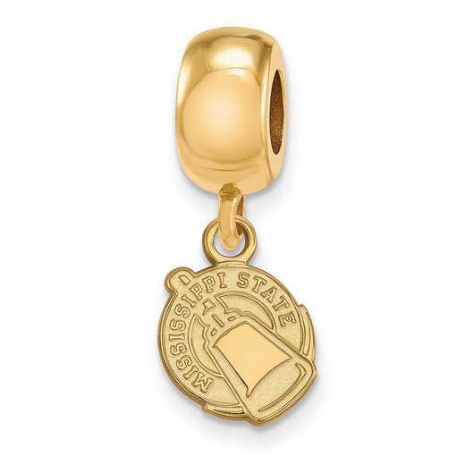 GP061MSS: SS/GP Logoart Mississippi State U Xs Reflection Beads Charm