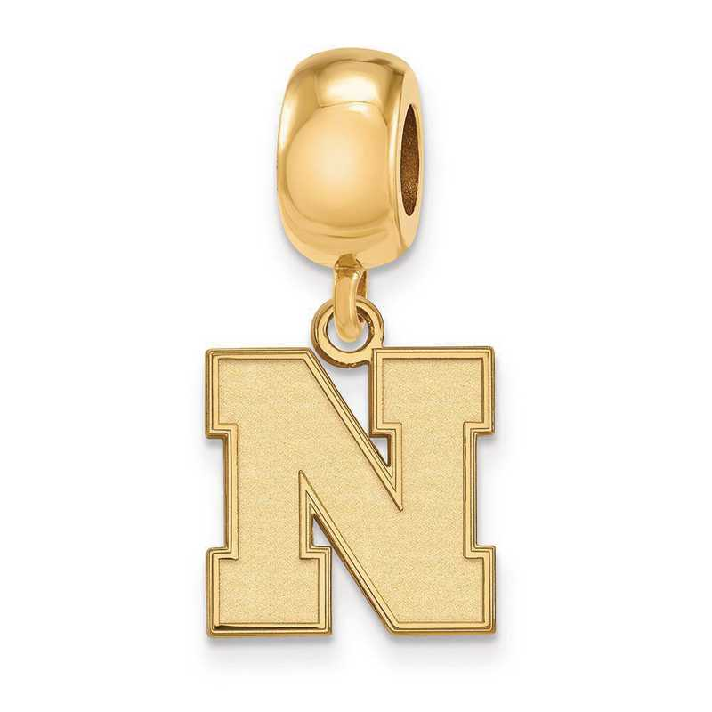 GP066UNE: SS W/GP Logoart U Of Nebraska Small Reflection Beads Charm