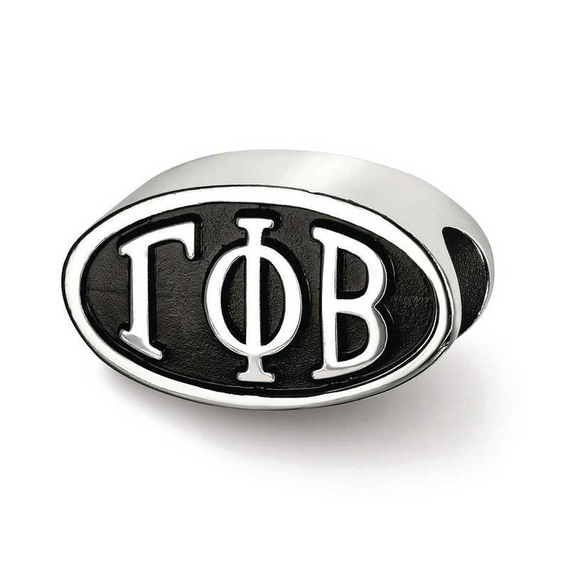 GPB002BD-SS: SS Logoart Gamma Phi Beta Oval Letters Reflection Beads