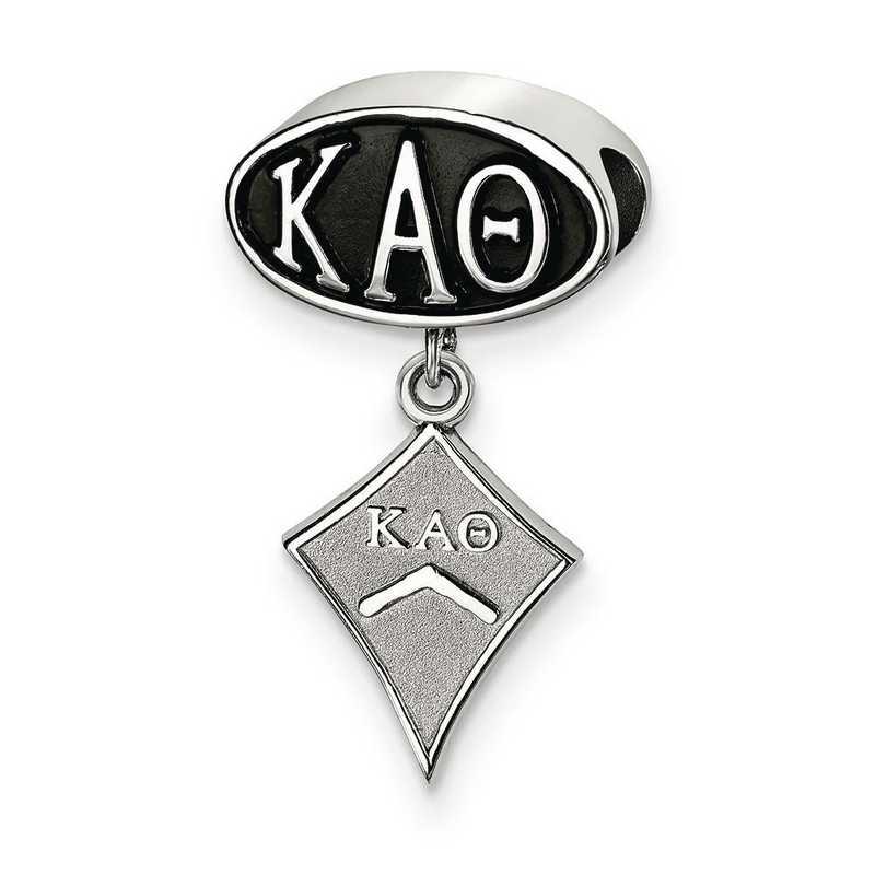 KAT004BD-SS: SS Logoart Kappa Alpha Theta Oval With Kite Reflection Beads
