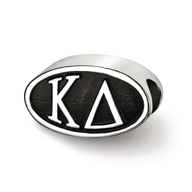 KD002BD-SS: SS Logoart Kappa Delta Oval Letters Reflection Beads