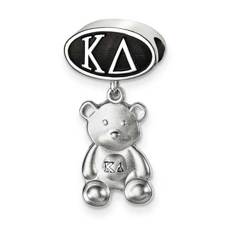 KD004BD-SS: SS Logoart Kappa Delta Oval With Teddy Bear Reflection Beads