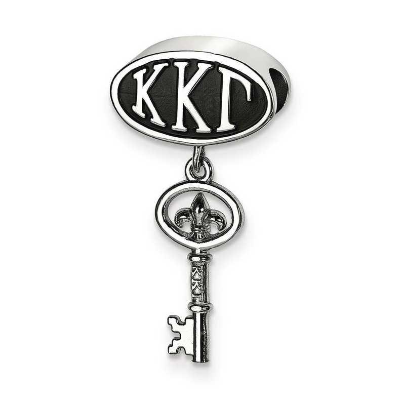 KKG004BD-SS: SS Logoart Kappa Kappa Gamma Oval Key Reflection Beads