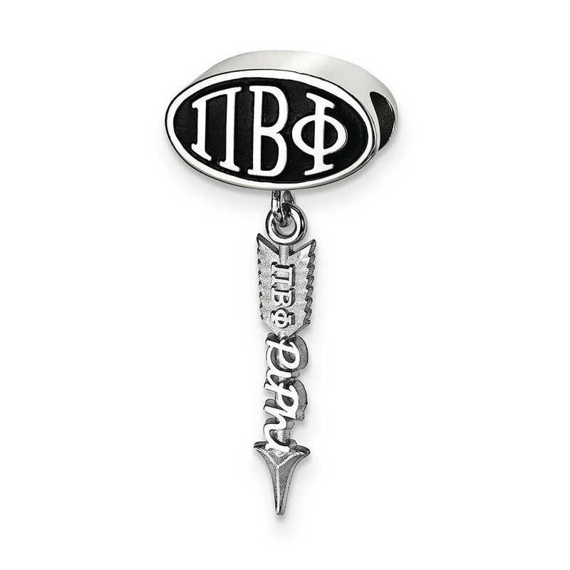 PBP004BD-SS: SS Logoart Pi Beta Phi Oval With Arrow Reflection Beads