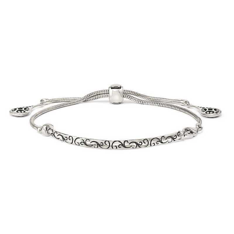QG3638: SS Reflection Beads Filigree Drops Adjustable Bracelet