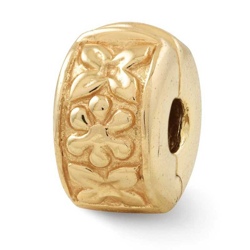 QRS101GP: SS Gold-Plated Reflection Beads Hinged Floral Clip Bead