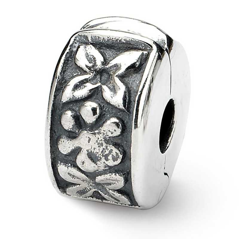 QRS101: Sterling Silver Reflection Beads Hinged Floral Clip Bead