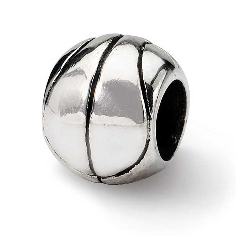 QRS1155: Sterling Silver Reflection Beads Basketball Bead