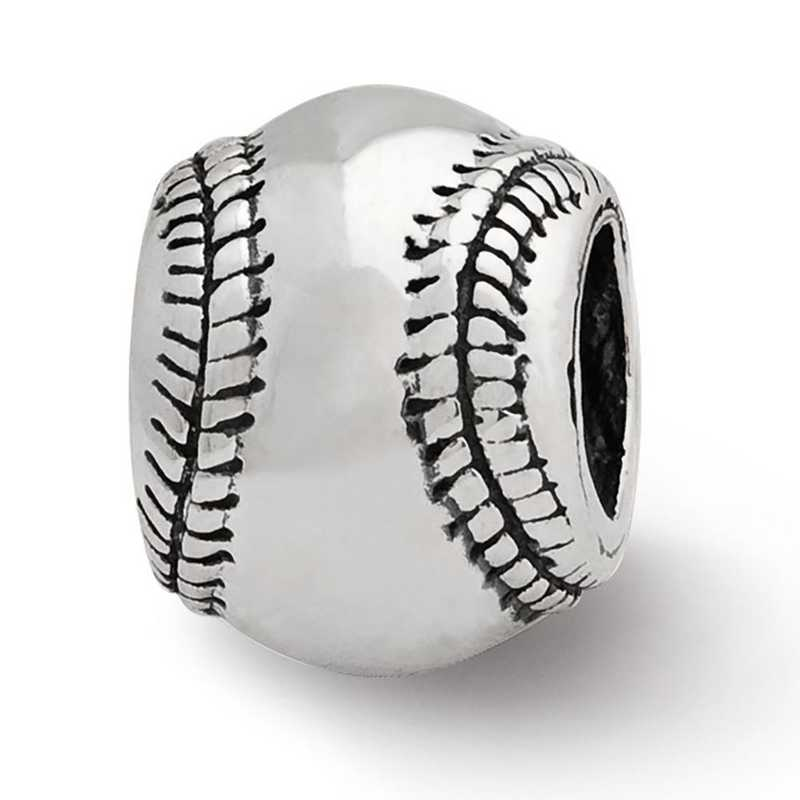 QRS1158: Sterling Silver Reflection Beads Baseball Bead
