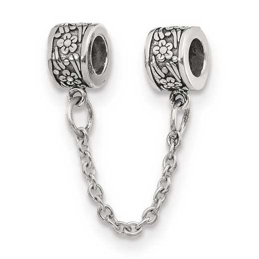 QRS120: Sterling Silver Reflection Beads Security Chain Floral Bead