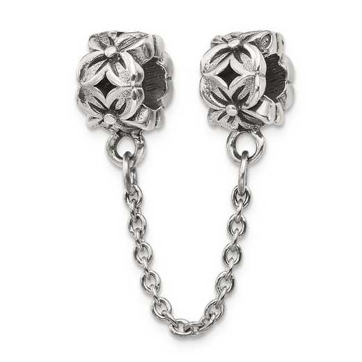 QRS122: Sterling Silver Reflection Beads Security Chain Floral Bead
