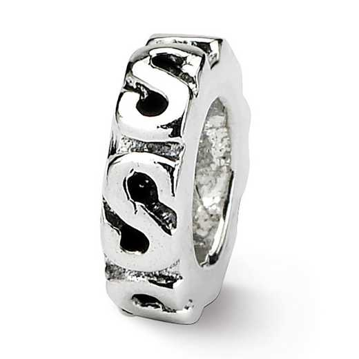 QRS124: Sterling Silver Reflection Beads Swirl Spacer Bead