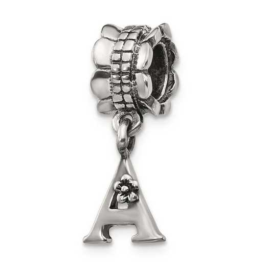 QRS1400A: Sterling Silver Reflection Beads Letter A Dangle Bead
