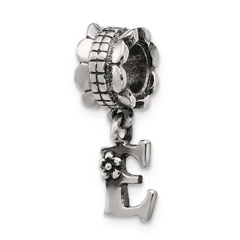 QRS1400E: Sterling Silver Reflection Beads Letter E Dangle Bead