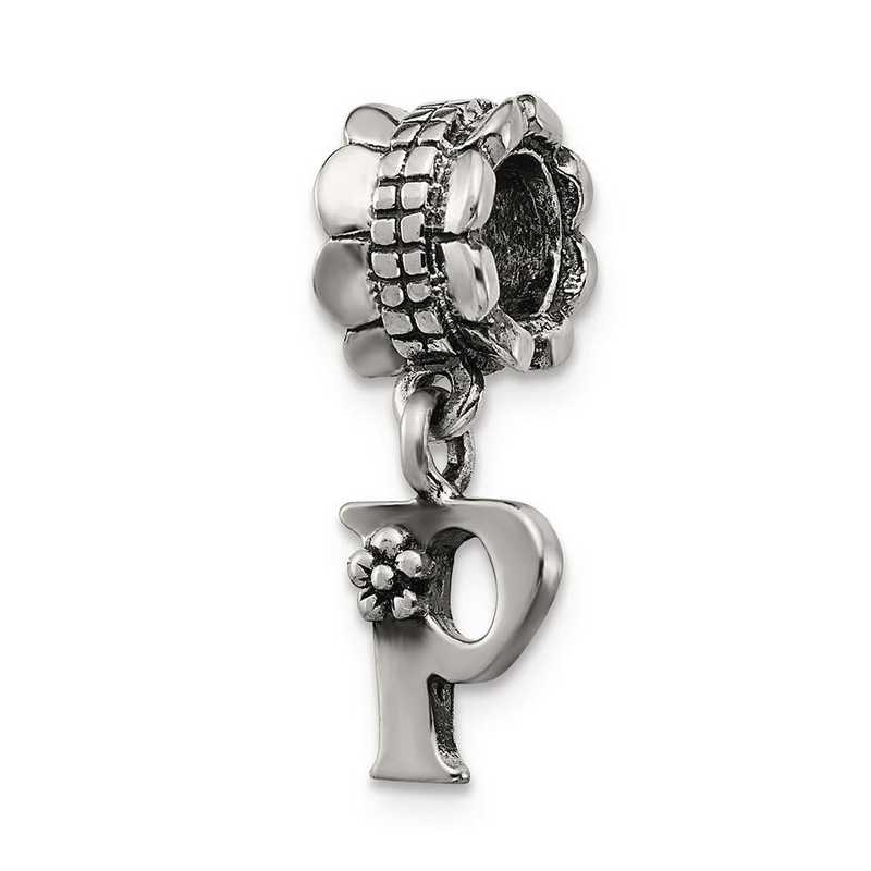 QRS1400P: Sterling Silver Reflection Beads Letter P Dangle Bead
