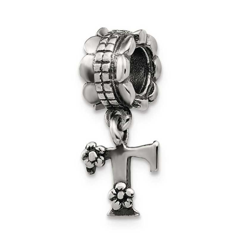 QRS1400T: Sterling Silver Reflection Beads Letter T Dangle Bead