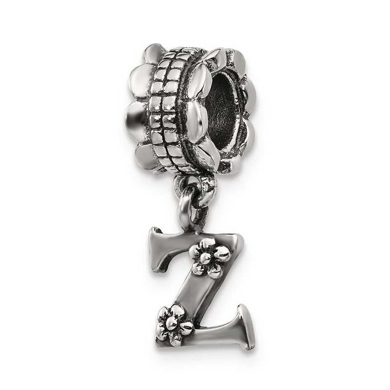 QRS1400Z: Sterling Silver Reflection Beads Letter Z Dangle Bead