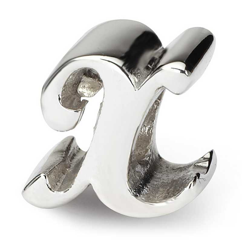 QRS1430X: Sterling Silver Reflection Beads Letter X Script Bead