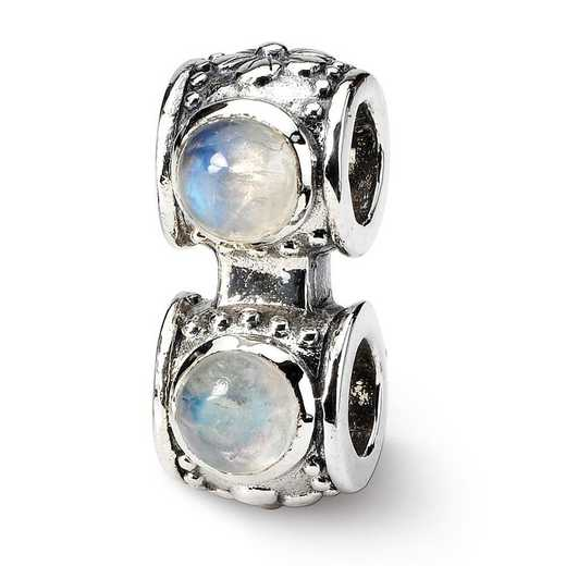 QRS144: Sterling Silver Reflection Beads Moonstone Connector Bead