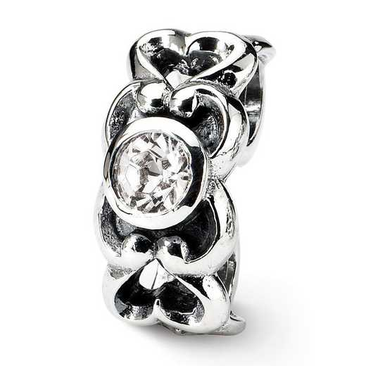 QRS151: Sterling Silver Reflection Beads Cz Connector Bead