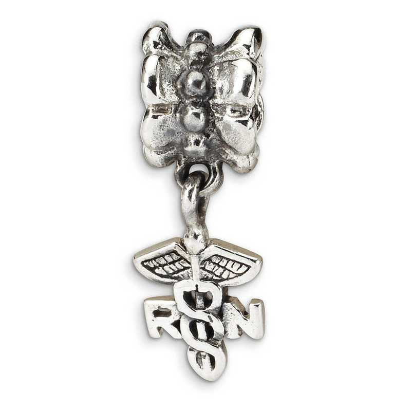 QRS1608: Sterling Silver Reflection Beads Nurse Symbol Dangle Bead