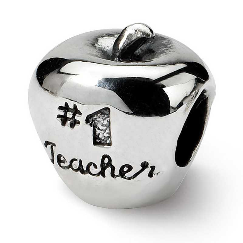 QRS1657: Sterling Silver Reflection Beads #1 Teacher On Apple Bead